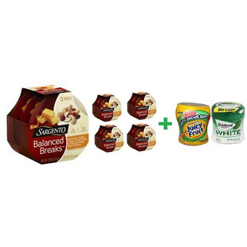 Sargento Balanced Breaks Sharp Cheddar With Cashews And Cranberries - 3-1.5 Oz (5 PACK)+ Fruity Chews Gum Watermelon 1/60 Count + Trident Go Cup Spearmint 1/60 Count