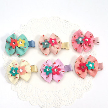 (1.97in/6Pcs)Lovely Bowknot Clips,Coxeer Alligator Ribbon Hair Bows Clips Hairpin Flower Hair Accessories for Baby Girls Kids Toddlers