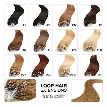 Fabwigs Micro Loop Ring Human Extensions - 18 20 22 Inch 12 Colors 50g Set - Silky Straight Loop Weft Human Remy Hair (20 Inch #2 Dark Brown)
