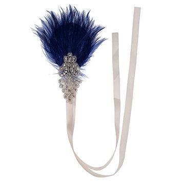 MonkeyJack Women's Roaring 20's Crystal Headpiece Showgirl Flapper Headband Royal Blue