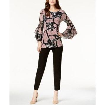 Printed Ruffle-Sleeve Tunic & Modern Ponté-Knit Skinny Pants