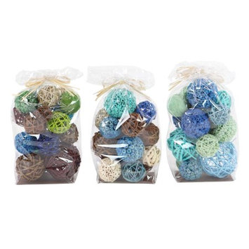 Decmode Set of 3 Coastal Blue, Brown, and Green Sola Balls Decorative Bags, Multi
