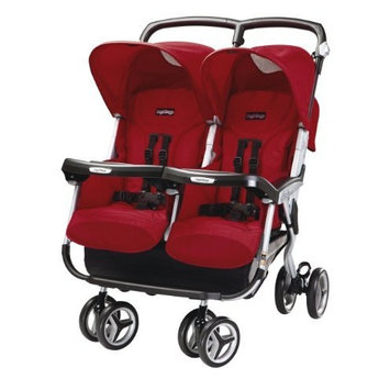 Peg-Perego Aria Twin 60/40 Stroller, Geranium (Discontinued by Manufacturer)