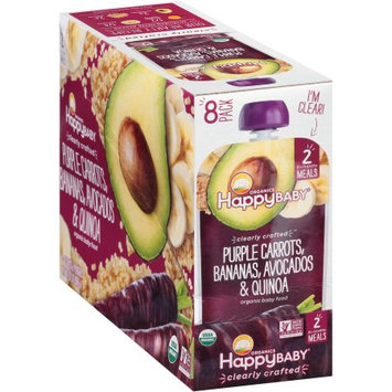 Happy Family Happy Baby Stage 2 Clearly Crafted Meals, Purple Carrots Bananas Avocados & Quinoa - 4 oz pouch (pack of 8)
