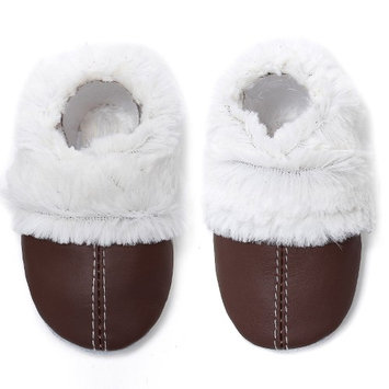 Momo Baby Neutral Soft Sole Leather Shoes - Fuzzy Lined Booties