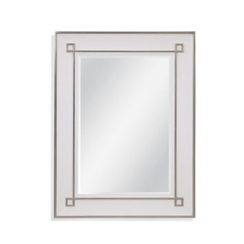 Bassett Mirror Alston Wall Mirror in White Lacquer and Silver Leaf M4217B
