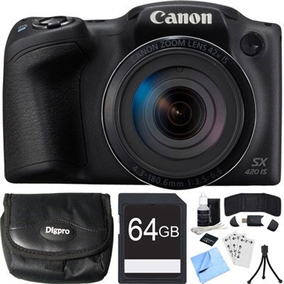 Canon PowerShot SX420 IS 20MP Black Digital Camera + 42x Optical Zoom 64GB Card Bundle