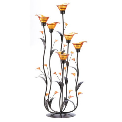 Gallery Of Light Metal Candle Holder, Calla Lily Flower Glass Candle Holder Set Metal Stand