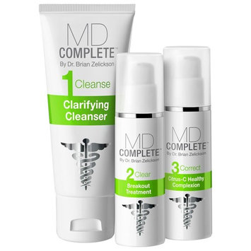 MD Complete ACNE CLEARING SYSTEM - Step 1 Cleanse (Salicylic Acid Cleanser), Step 2 Clear (Benzoyl Peroxide Breakout Treatment), Step 3 Correct (Retinol Citrus-C Healthy Complexion) 60 Day ACNEKIT