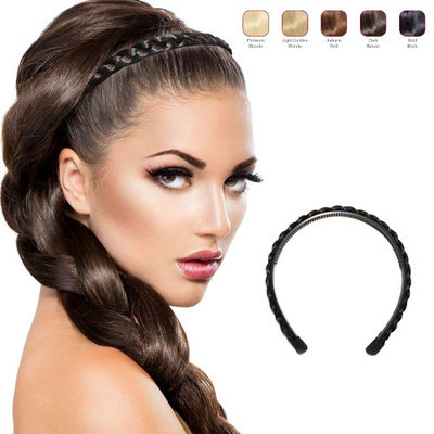 Buy 2 Hollywood Hair braided Alice Band get 1 Free - Dark Brown (Pack of 3)