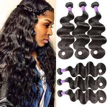 Flady Brazilian Virgin Hair Body Wave 3 Bundles 100% Unprocessed Human Hair Extensions Natural Color (100+/-5g)/pc 16 18 20inch