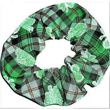 St Patricks Day Plaid Shamrocks Cotton Fabric Hair Scrunchie Handmade by Scrunchies by Sherry