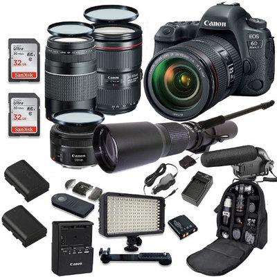 Canon EOS 6D MARK II DSLR Camera Bundle w/ Canon EF 24-105mm f/4L IS II USM Lens + Canon 75-300mm f/4-5.6 III Lens + Canon 50mm f/1.8 Lens + 500mm Preset Lens + Premium Accessory Bundle (19 Items)