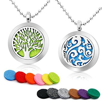 """Essential Oil Diffuser Silver Necklace-YouMiYa 2PCS Aromatherapy Locket Jewelry Lucky Cloud Pendant 316L Stainless Steel Necklace Perfume for women anniversary gifts with 24""""Chain+11 Refill Pads"""