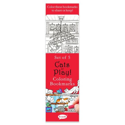 Cats at Play Coloring Bookmarks - Set of 5