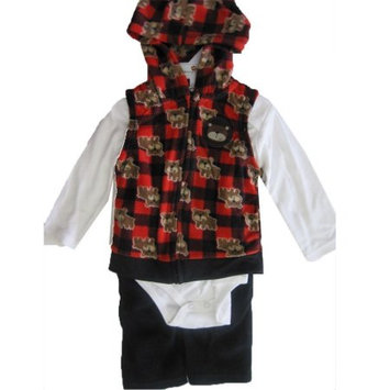 Buster Brown Baby Boys White Red Printed Hooded Vest Onesie 3 Pc Pants Set 24M