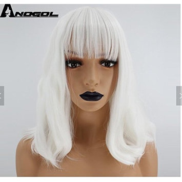 BUNDLE DEAL ! White Synthetic High Temp Heat Resistant long Wavy Straight 14 inch Bob Wig with Bangs with Plastic Wig Stand Bundle