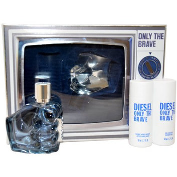 Diesel Only The Brave by Diesel for Men - 3 Pc Gift Set 2.5oz EDT Spray, 1.7oz After Shave Balm, 1.7oz All Over Shampoo