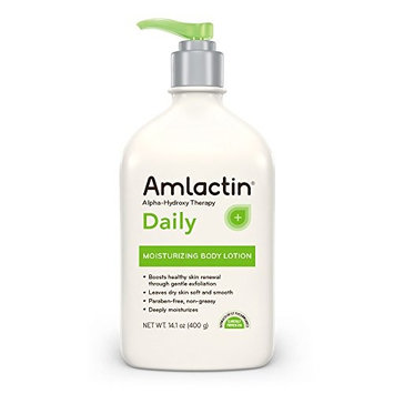 AmLactin Daily Moisturizing Body Lotion | Instantly Hydrates, Relieves Roughness | Powerful Alpha-Hydroxy Therapy Gently Exfoliates | Smooths Rough, Dry Skin | 14.1 oz. with Pump