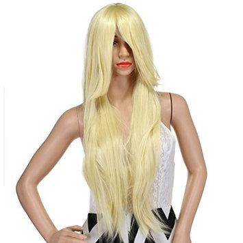 WELLKAGE 32-Inch Long straight Costume Wigs for Women + Free Wig Cap(Sky Blue)