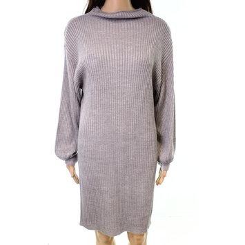 RDI NEW Light Gray Ribbed-Knit Women's XL High-Neck Sweater Dress