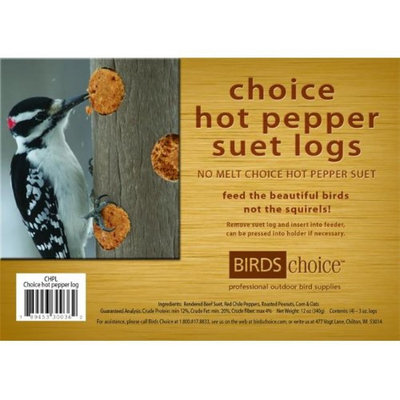 Bird's Choice Birds Choice Hot Pepper Suet Logs, (4) 3oz. Logs