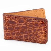 Royce Leather Cognac Genuine Crocodile Skin Luxury Magnetic Money Clip Wallet