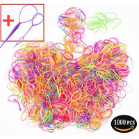 About 1000 Pieces Colorful Elastic Rubber Hair Bands, Two FREE Hair Braid Maker Tools. (multicolour-1000pcs)