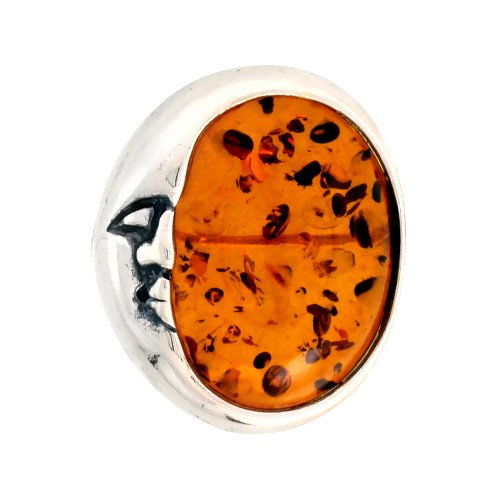 Worldjewels Sterling Silver Crescent Moon Russian Baltic Amber Brooch Pin, 13/16 inch wide