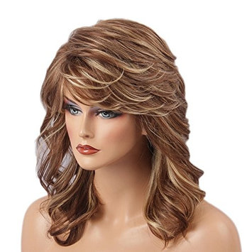 Baoblaze Glamorous Fashion Shoulder Length Long Curly Wavy Golden Real Human Hair Wigs Heat Resistant with Wig Cap for Women Ladies
