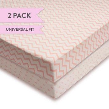 Ely's & Co Pink & White Chevron & Dot Crib Sheet Set