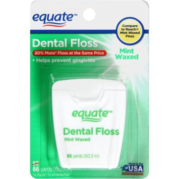 Equate Waxed Mint Dental Floss, 66 Yd