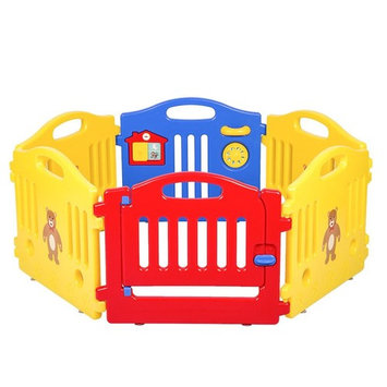 6 Panel Baby Playpen, Kids Safety Play Center Yard Home Indoor Outdoor Pen Fence