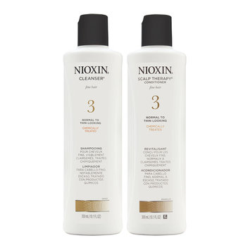 Coty Nioxin System 3 Duo Cleanser + Scalp Therapy, Normal to Thin-Looking, Chemically Treated Hair