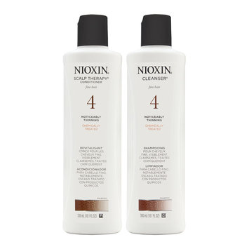 Coty Nioxin System 4 Duo Cleanser + Scalp Therapy, Fine, Chemically Treated Hair, Noticeably Thinning Hair