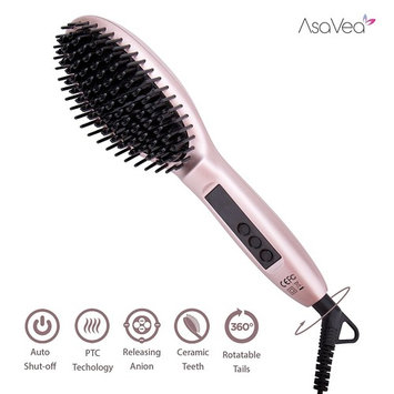 AsaVea Hair Straightener Brush 3.0: MCH Heating Technology and Auto Temperature Lock, Anti-Scald Design - The Best Gift Choice (Rose G