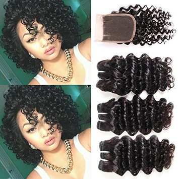 8A Peruvian Deep Wave 3 Bundles with Closure Short Deep Curly Hair Bundles with Lace Frontal Closure 3Part Human Hair Extensions 50g/pc Curly Human Hair Bundles with Closure (8