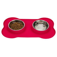 Pet Dog Food Feeder Silicone Stainless Steel Cat Food Feeder Double Bowl 14.29