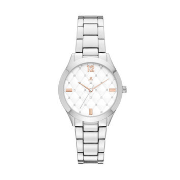 Jaclyn Smith Women's Silver Bracelet Silver Quilt Dial Watch