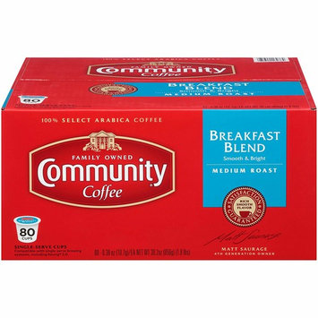 Community Coffee Breakfast Blend, Medium Roast Single Serve Coffee Pods, Compatible with Keurig K-Cup Brewers, 80 Count [Breakfast blend medium roast]
