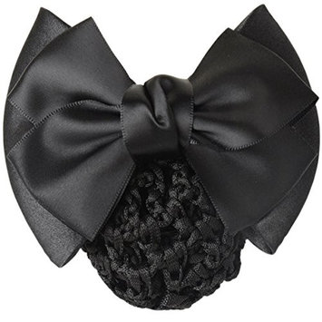 LiveZone Women Professional Hair Bun Cover Net Snood Hairnet Bowknot Decor Barrette Hair Clip Bow Lace Flower Hair Accessories ,Black
