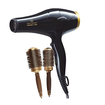 Olivia Garden Ceramic+Ion Professional Hair Dryer, 2 Nano-Thermic Brushes