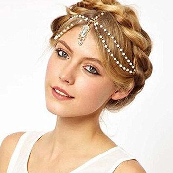 LUNIWEI Pearl Tassel Flower Stretch Headband Hair Band Crystal Hair Ch...