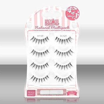 Blinque Premium Multipack (4+1) 100% Human Hair False Eyelashes 4 Pairs & Adhesive Glue, Style #A-102