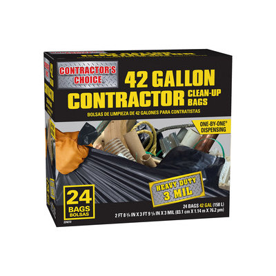 Contractor's Choice 24-Count 42-Gallon Outdoor Trash Bags LW42WC024B