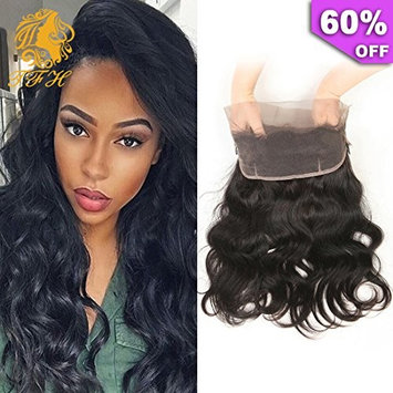 TFH 360 Lace Frontal Closure with Baby Hair 14 inch 8A Grade Brazilian Hair 150% Density 360 Lace Frontal Closure Body Wave Hair Extensions Natural Black Color