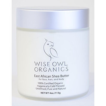 Wise Owl Organics Best Moisturizer for Body, East African Shea Butter [4 Ounces]