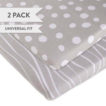 Bassinet Sheet Set 2 Pack 100% Jersey Cotton Grey and White Abstract Stripes and Dots by Ely's & Co