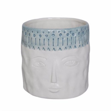 Benzara Thoughtful Face Ceramic Flower Pot In Blue And White
