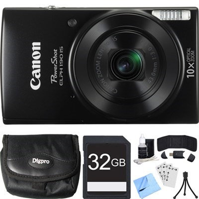 Canon PowerShot ELPH 190 IS Black Digital Camera w/ 10x Optical Zoom 32GB Card Bundle
